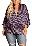 Debshops Womens Plus Size Silky Stripe Kimono Blouse 2XL Navy