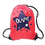 Personalised Kids Red Bag with Blue Star Theme Drawstring Swimming, School, PE Bag For Girls And Boys