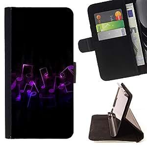 Momo Phone Case / Flip Funda de Cuero Case Cover - Notas de la música Arte púrpura del símbolo del amor Danza - LG G4 Stylus H540