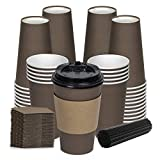 Savourio Coffee Cups with Lids - 16 Oz Disposable Coffee Cups 100 Pack Paper Cups with Stirring Straws, Lids, Sleeves, Hot Coffee Container - Brown Tall Tea Cup to Go - Leakproof Paper Sleeves Cups