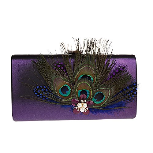 Hand Party Clutch Purple Bag Dec with Evening Feather Bag Satin Peacock Crystal TOOKY Pearl IqXO0xt