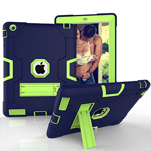 - iPad 4 Case,iPad 3 Case,iPad 2 Case, KMISS Heavy Duty with Kickstand Shockproof High Impact Resistant Hybrid Full Body Protective Case Cover for Apple iPad 2/3/4th Gen (Navy+Olivine)