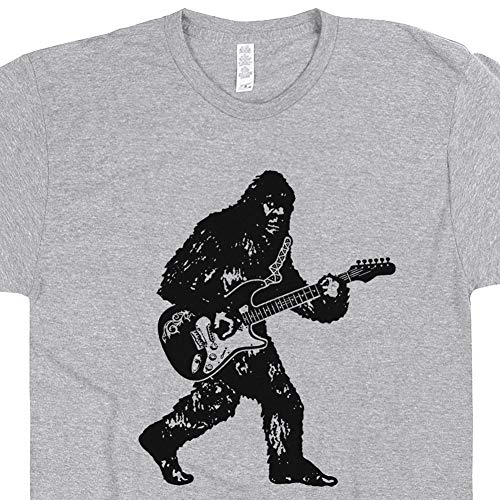 (XL - Bigfoot Playing Guitar Shirt Sasquatch Guitarist Tee Animal Electric Acoustic Vintage Classic Rock Music Festival Gray)