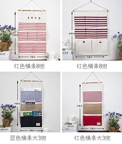 Storage Bag Dormitory/Bedroom Fabric Stripe Wall-Mounted Storage Bag, 01