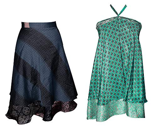 Set of 2 100% Pure Silk Vintage Saree Wrap Skirt Reversible Long Wrap Around Top/Skirt/Dress/Beach Cover (Vintage Wrap Around Skirt)