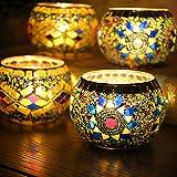 YJY LED Candle Lamps Holder Night Light,2-Pack European Style Glass Tea Light Holder,Handmade Artwork for Home Decor Christmas Wedding Party Gift 3.2''(Sunflower_Wave)