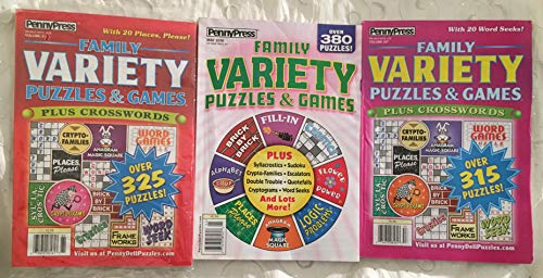 (Lot of (3) Penny Press Family Variety Puzzles & Games Plus Crosswords Puzzle Book 2018)