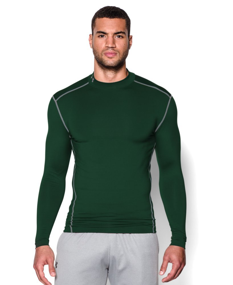 Under Armour Men's ColdGear Armour Compression Mock Long Sleeve Shirt, Forest Green /Steel, XXX-Large