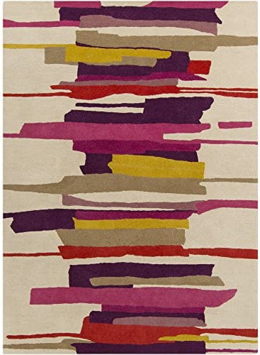 Surya Harlequin Hand Tufted Modern Area Rug, 9 by 12-Feet, Magenta Olive