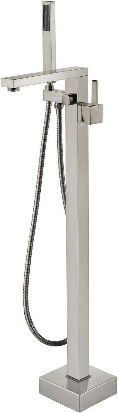 Wowkk Freestanding Bathtub Faucet Tub Filler Brushed Nickel Floor Mount Bathroom Faucets Brass Single Handle with Hand Shower