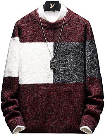 セーター メンズ 冬服 厚手 クルーネック カラーマッチング ニットセーター 暖かい 防寒 カジュアル ステッチパターン セーター 春秋冬