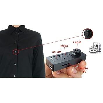 tradeshoptraesio® - Botón con cámara espía oculta transmisor Video Fotos Spy Cam oculta Micro Camera: Amazon.es: Electrónica