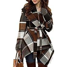 Chicwish Women's Turn Down Shawl Collar Open Front Long Sleeve Check Asymmetric Hemline Wool Blend Coat