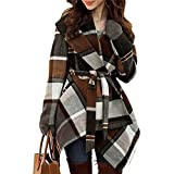 Chicwish Women's Turn Down Shawl Collar Earth Tone Check Asymmetric Hemline Wool Blend Coat