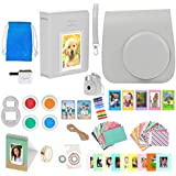 Fuji Instax Mini 9 Camera Accessories - 16 Piece Kit Includes: Smokey White Protective Case + Strap, Keychain, 2 Photo Albums, Emoji Stickers, Selfie Lens, Hanging Frames, (Camera not Included