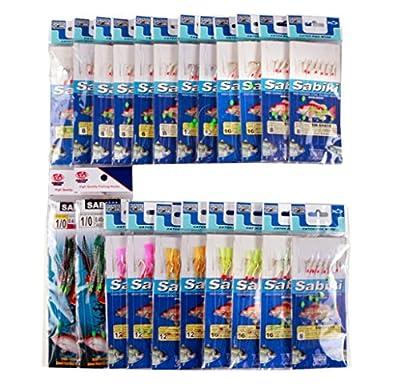 Value Sport Assorted 22 Packs Freshwater/saltwater Fishing Sabiki Bait Rigs Fish Skin/feather Hooks