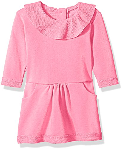 Zutano Baby French Terry Ruffle Drop Waist Dress, Hot Pink, 6 Months (Zutano Baby Dress)