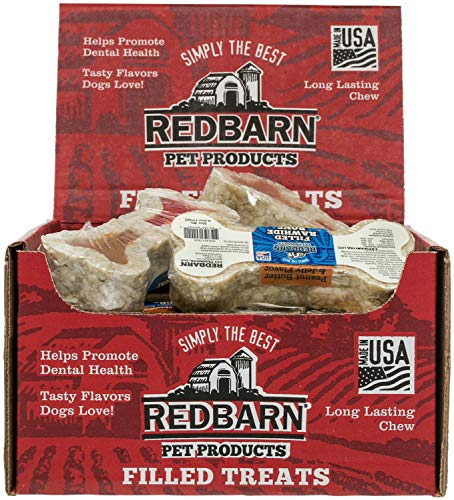 REDBARN Peanut Butter and Jelly Filled Rawhide Bones for Dogs, 24 Count