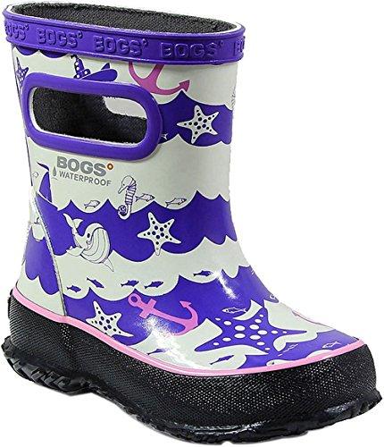 Bogs Skipper Kids Waterproof Rubber Rain Boot for Boys and Girls, At Sea Print/Purple/Multi, 10 M US Toddler (Waterproof Bogs Boots)