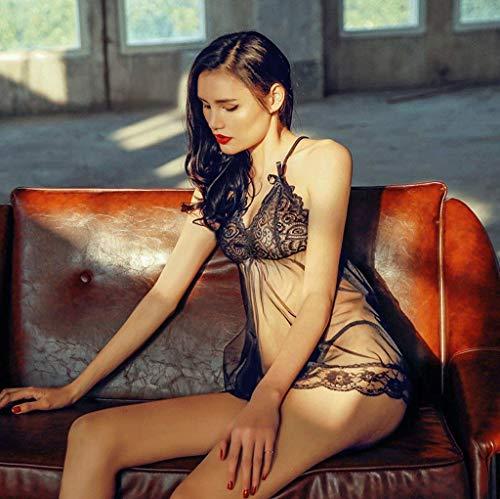V Descubierta Erotismo Mujer Lenceria Lencería Schwarz Sin Encaje Espalda Transparentes Mangas Camisón Negro Vestido cuello Camison Sling Elegantes Moda 4BHSq