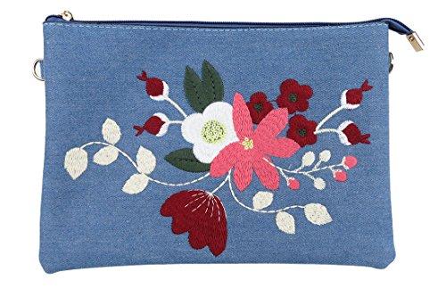 Floral Embroidered Flat Cross Body Clutch Handbag Denim Blue