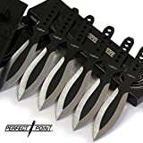"""6 piece 9"""" - GRIM REAPER Two-Tone THROWING KNIFE SET - Knives Perfect Point"""
