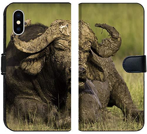 Liili Premium iPhone X Flip Micro Fabric Wallet Case African Cape Buffalo Photo 20215705 ()