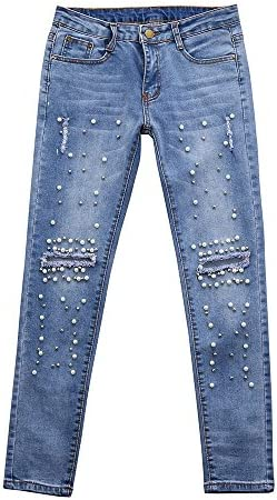 bce07029a70 Theshy Jeans Women Denim High-Waist Ripped Stretchy Hole Pencil Pants Jeans  Trousers