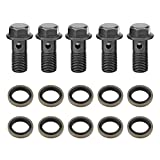 #3: Qiilu 5pcs Motorcycle Banjo Bolts & Washers for Brake Caliper Master Cylinder M10 x1.25/M10 1.0mm(M10×1.25mm)