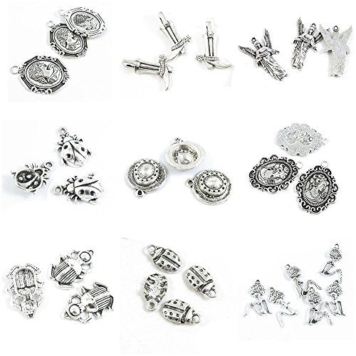 31 Pieces Antique Silver Tone Jewelry Making Charms Sexy Lady Woman Ladybug Beetle Bug Queen Portrait Straw Hat Angel Our Boots ()