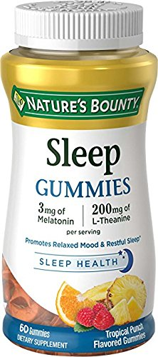 Nature's Bounty Sleep Complex Gummies 60ct, 3 millgrams Melatonin, 200 milligrams L Theanine Gummies (2 Pack)