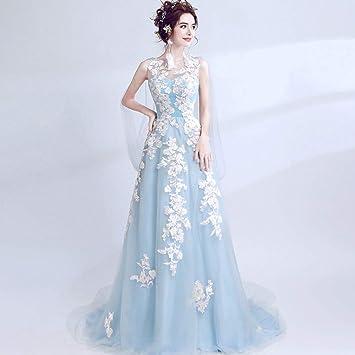 WFL Vestido de Boda Azul Banquete recibió Rendimiento Vestido de Noche Vestido de Novia de la