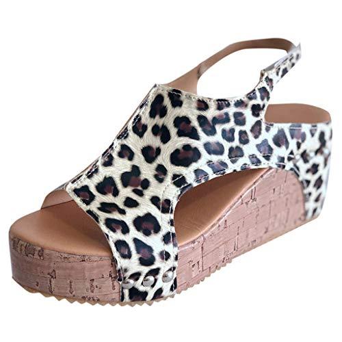 ◕‿◕Watere◕‿◕ Sandal Women's,Strappy Summer Sandal Rivet Sandals Peep Toe Roman Sandal Bohemian Beach Leopard Sandals Brown
