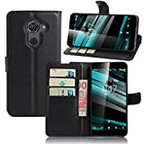 Smart Platinum 7 Case,Khytech[black][Kickstand Feature][Card Slot][Magnetic Closure]Premium PU Leather Wallet Case Stand Cover Flip Fold Case for Vodafone Smart Platinum 7