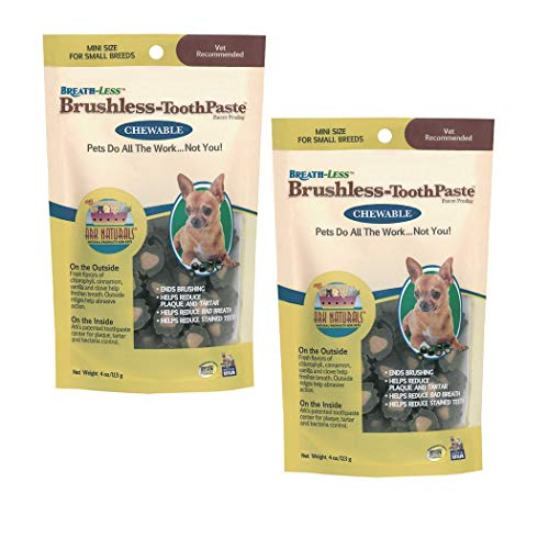 Toothpaste Chewable Brushless (Ark Naturals Products for Dogs Breathless Chewable Brushless Toothpaste, Mini, 4-Ounce, 2 Pack)