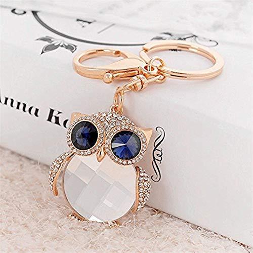 Fashion Lovely Lucky Owl Keychain Diamond Crystal Rhinestone Gold Crystal Charm Pendent Handbag Purse Bag Key Ring Keyfob Charm for Girl and Women Gift