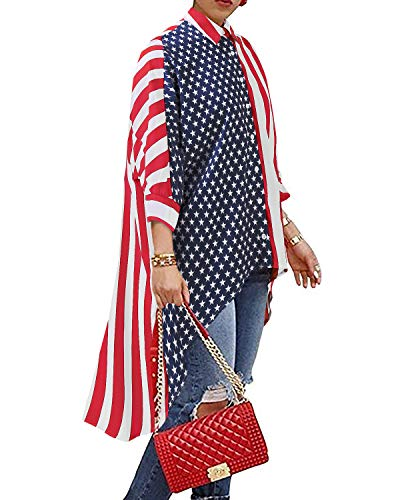 BIUBIU American Flag Clothing for Women,Women's Striped Henley Half Sleeve High Low Hem Loose Blouse Tops (S, Red-Blue)