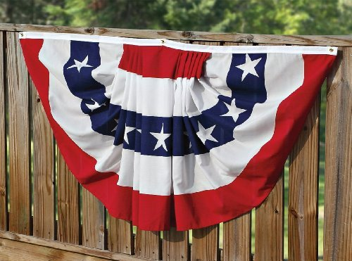 Polyester Fabric Banner - Valley Forge, American Flag Bunting Banner, Polyester, 3' x 6', Pleated Fan Flag with Stars and Stripes