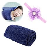 UIMagic Newborn Baby Photography Props - Long Ripple Wrap Blanket and Lace Beads Headband (Blue)