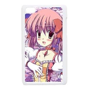 Mahou Shoujo Madoka Magica Girl Blush Glove Being funda iPod Touch 4 caja funda del teléfono celular blanco cubierta de la caja funda EEECBCAAJ17572
