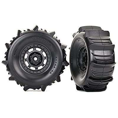 Traxxas 8475 Desert Racer Wheels with Paddle Tires, Black: Toys & Games