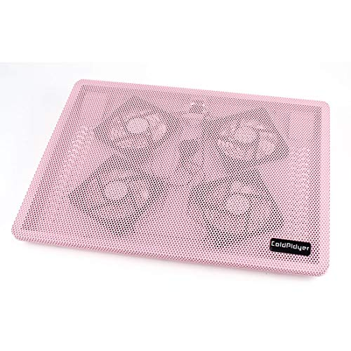 uxcell Metal USB Blue LED 4 Silent Fan Cooling Pad Pink for Laptop PC