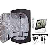 TopoGrow 24''X24''X48'' Mylar Hydroponic Grow Tent Kit W/Digital Hygrometer Thermometer Humidity Monitor+2 PCS/1 Pair Rope Grow Light Hangers Ratchet Indoor Plant Growing (24''X24''X48'')
