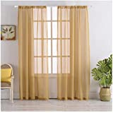 Rod Pocket Sheer Curtains Window Voile Treatment Panels For Bedroom/Living  Room Drapes Semi Transparent