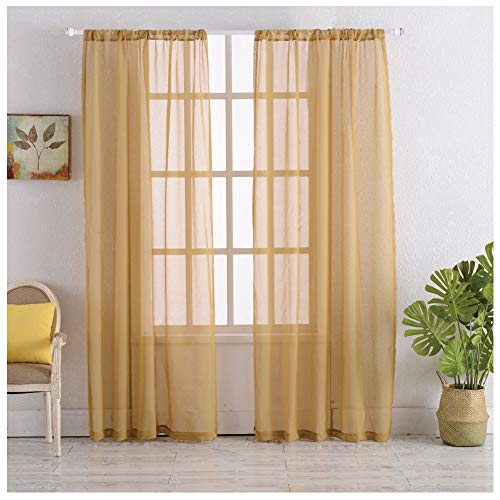 Rod Pocket Sheer Curtains Window Voile Treatment Panels for Bedroom/Living Room Drapes Semi Transparent Poly Linen Textured Elegance Curtains Set of 2 Panels (54