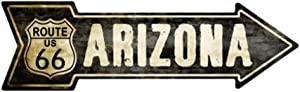 Smart Blonde Outdoor Decor Vintage Route 66 Arizona Novelty Metal Arrow Sign A-127