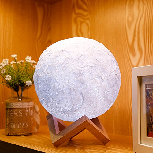 2018 Moon Lamp, EXTRA Large 7.1 Inch Diameter, Multicolor Realistic 3D Print, 5 Brightness Levels, USB Charging Hanging Night Light, Home Decor, Perfect Gift for Babies, Couples, Women, W/ Remote