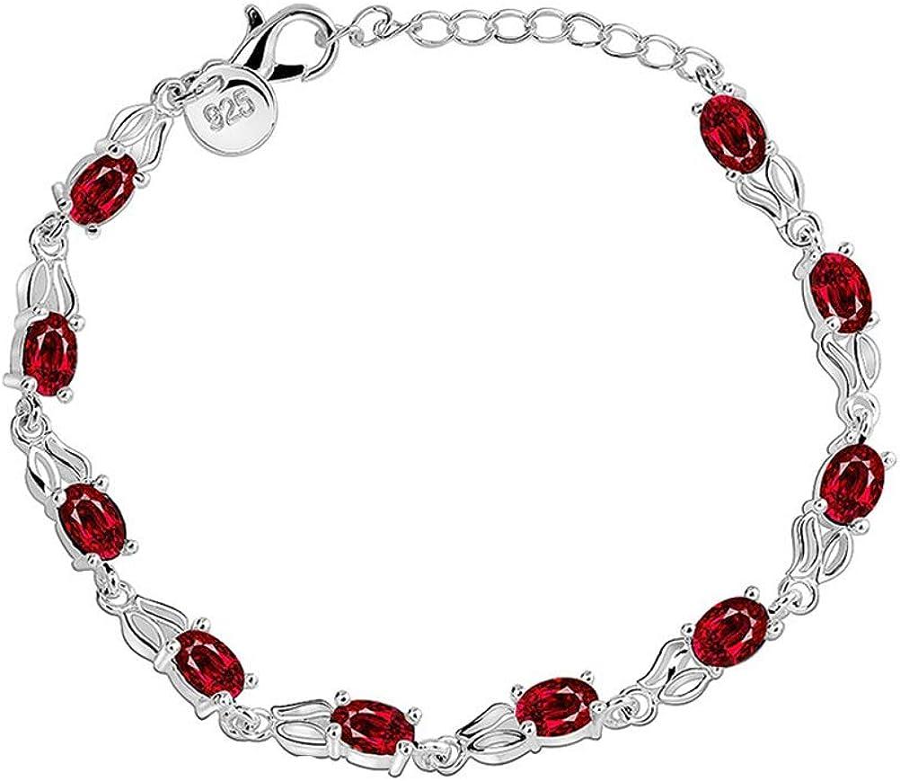 FENICAL Rubí Pulsera Moda Rhinestone Cadena de rubíes Chapado en Plata Pulsera Regalo de la joyería para Mujeres niñas (Rojo + Plata)