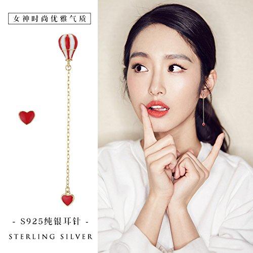 s925 Silver Needle Earrings earings Dangler Eardrop Asymmetric Love hot air Balloons Long Women Girls Creative Handmade Enamel Drop Ear Fashion Jewelry -