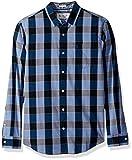 Original Penguin Men's P55 Plaid Dress Shirt, Snorkel Blue, Medium